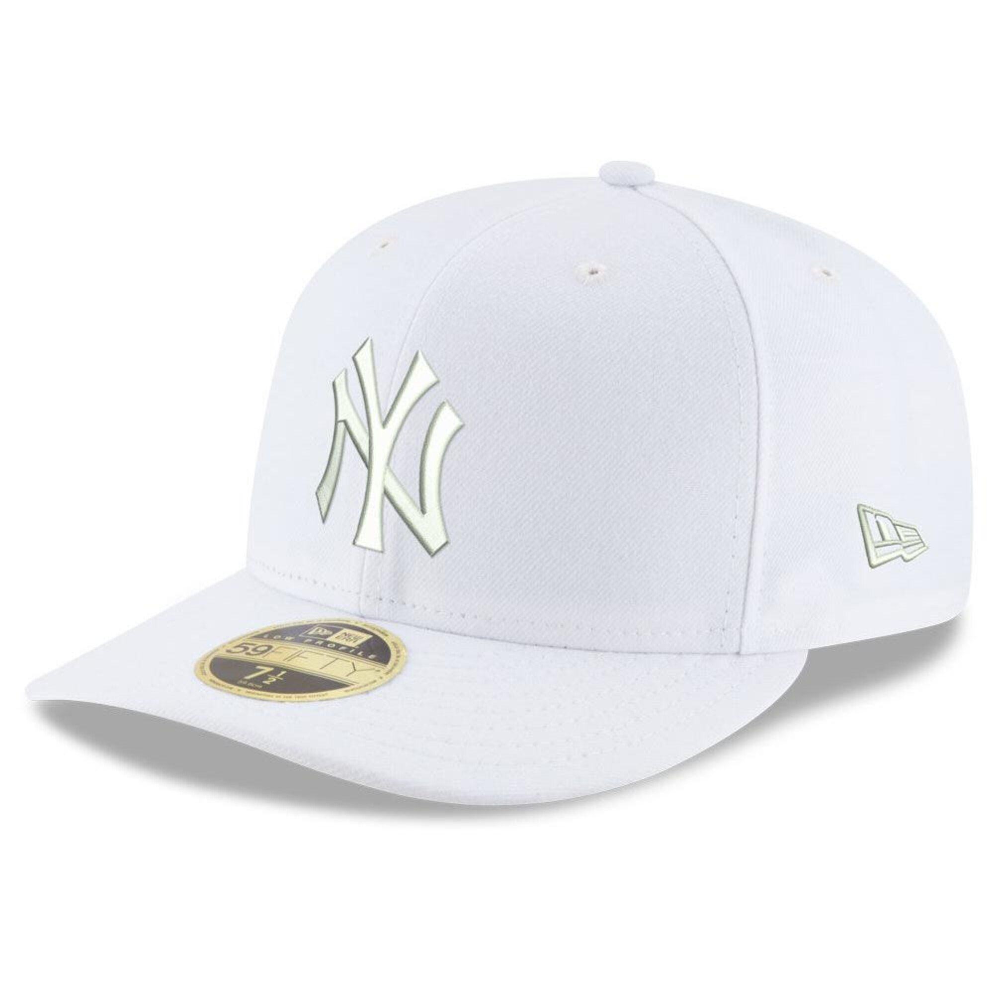 Men S New York Yankees New Era White Mlb Triple White Low Profile 59fifty Fitted Hat Fitted Hats Swag Hats Yankees Hat