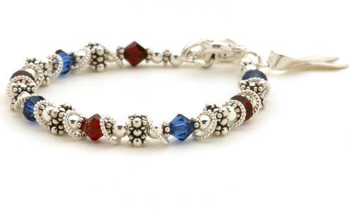 USA Patriotic Awareness Bracelet - Sterling Silver Beads & Swarovski Crystal Lily Brooke Jewelry http://www.amazon.com/dp/B009P38MVM/ref=cm_sw_r_pi_dp_gXWfxb01N3VRJ