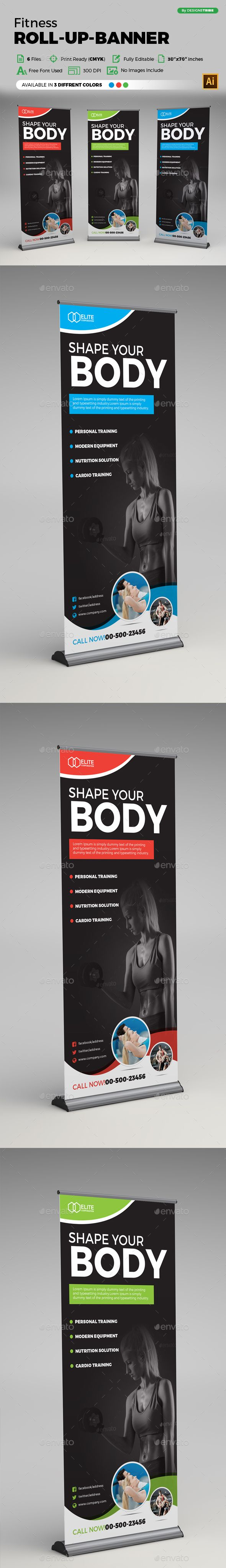 Fitness Roll-up Banner by arsalanhanif Corporate Business Roll-up Banner Templat...