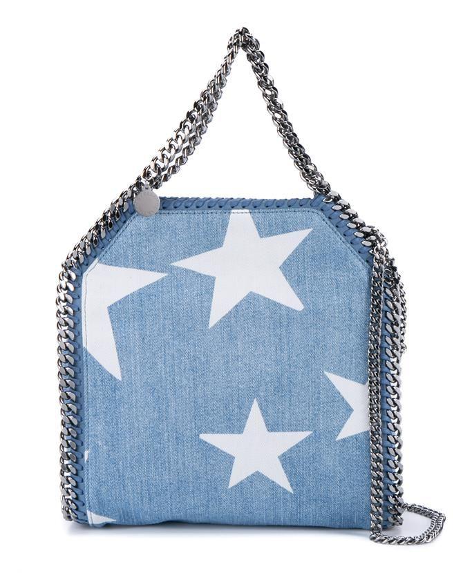 STELLA MCCARTNEY Mini Bella Star Print Denim Bag.  stellamccartney  bags  shoulder  bags  hand bags  denim  cotton   7cc52210f9147