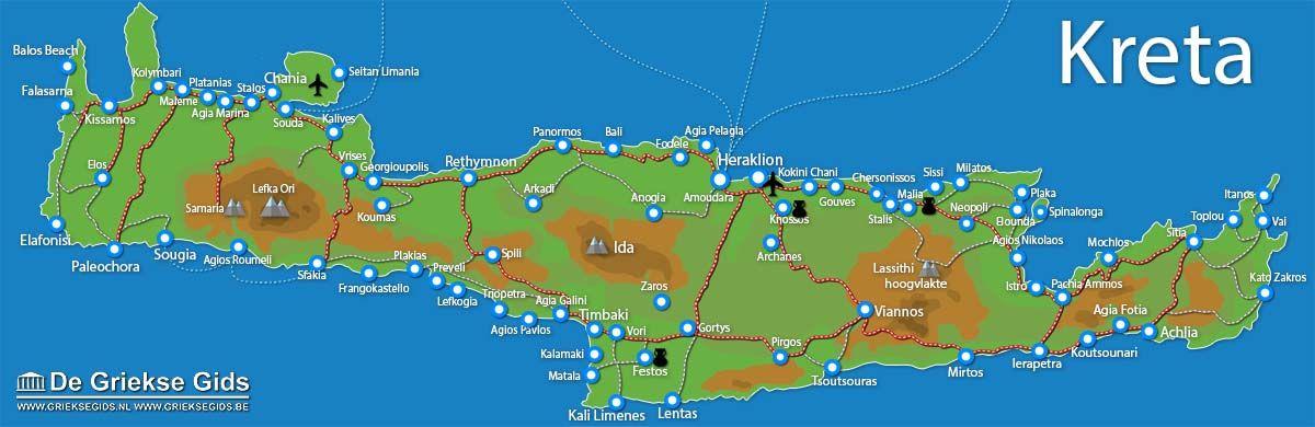 Kaart Van Kreta Kreta Griekse Eilanden De Griekse Gids