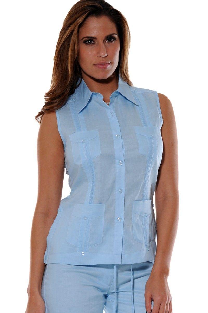 Cuban Guayabera, Shirt, Linen, Ladies Guayabera Blouse, Traditional ...