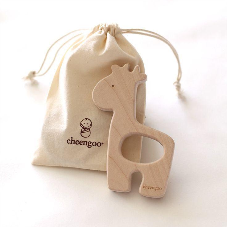 Giraffe wooden teether handmade toys wood toys handmade