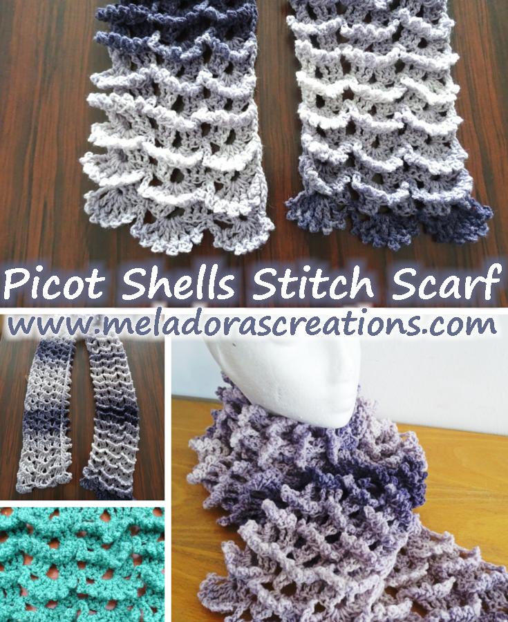 Picot Shell Stitch Scarf Free Crochet Pattern Crochet Scarves