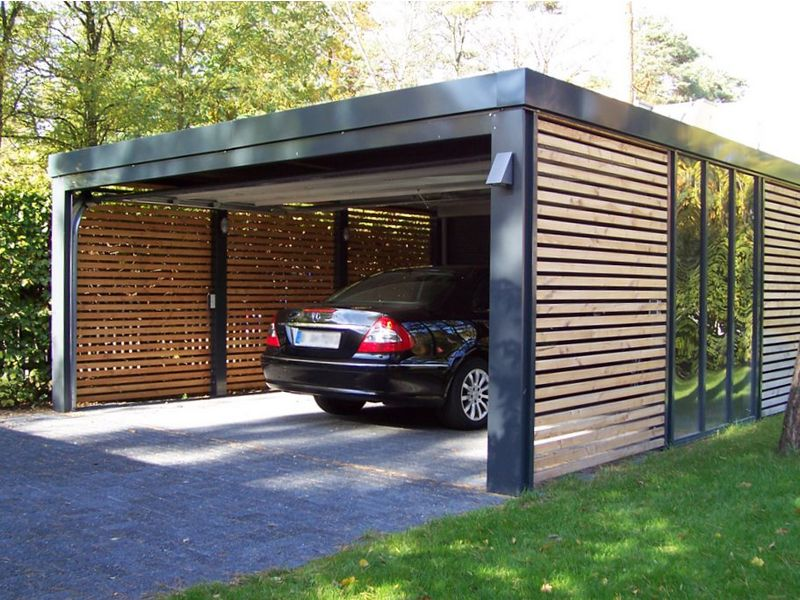 Garage mit carport modern  The look of our garaging, black, with wooden slats and a timber ...