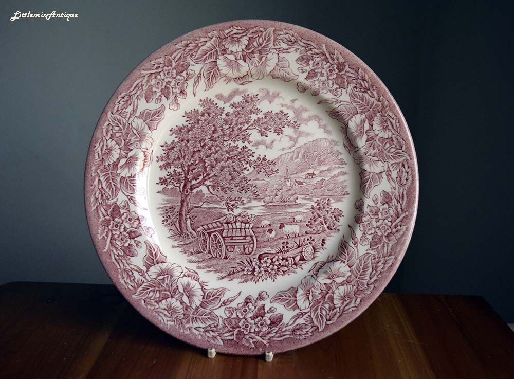Vintage English Ironstone Tableware EIT England Pink Transferware 25 ...