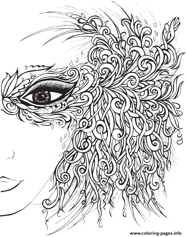 print creative haven fanciful faces adults 4 coloring pages black