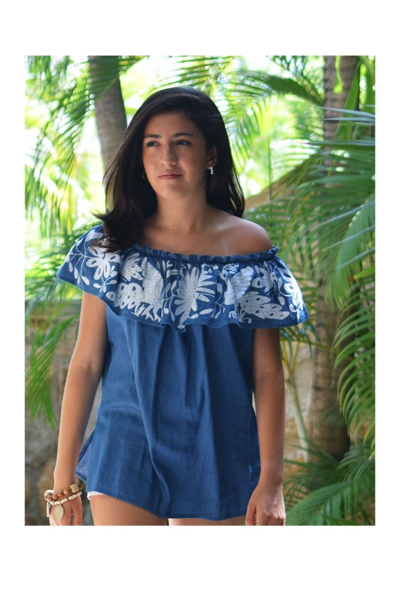 Mexican Off The Shoulder Chambray Denim Blouse Vuelo Blouse