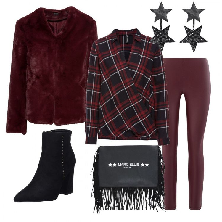 Outfit sui toni del nero e del bordeaux. Grinta da vendere