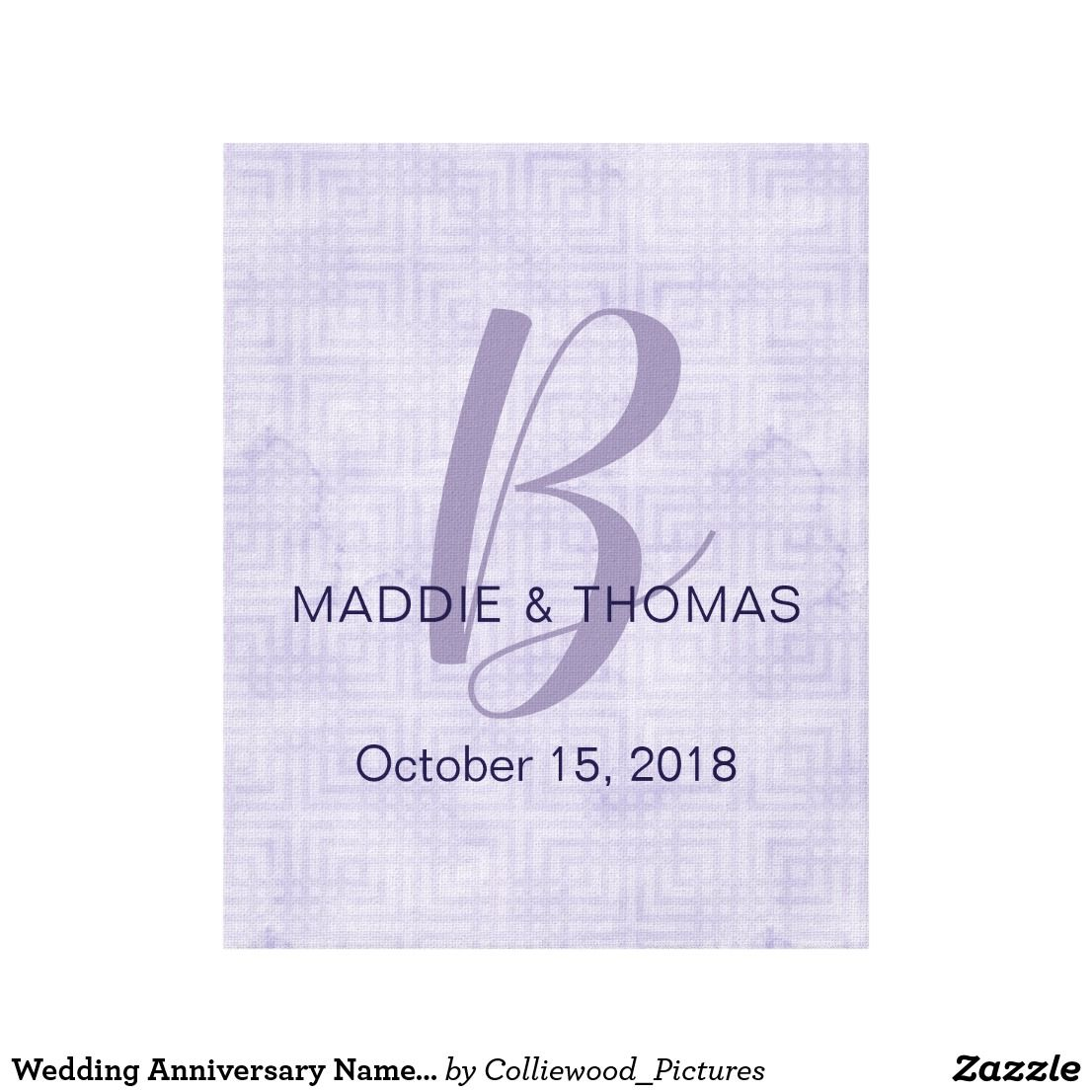 Wedding decorations names october 2018 Wedding Anniversary Name and Initial Ultraviolet Canvas Print