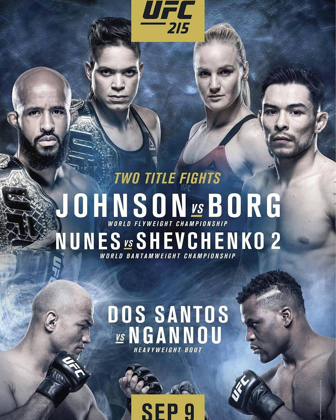 Now That S An Official And Better Looking Ufc 215 Poster How Would Mma Fans Rate This Two Championship Fight Card Along With A Heavyweight Ufc Ufc Poster Mma