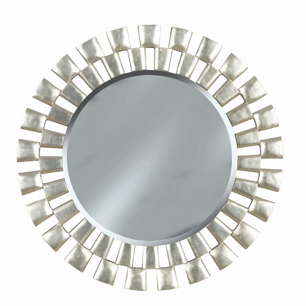 Manor Brook Medium Round Silver Beveled Glass Classic Mirror 36 In H X 36 In W 60019 The Home Depot Mirror Wall Modern Mirror Wall Round Wall Mirror