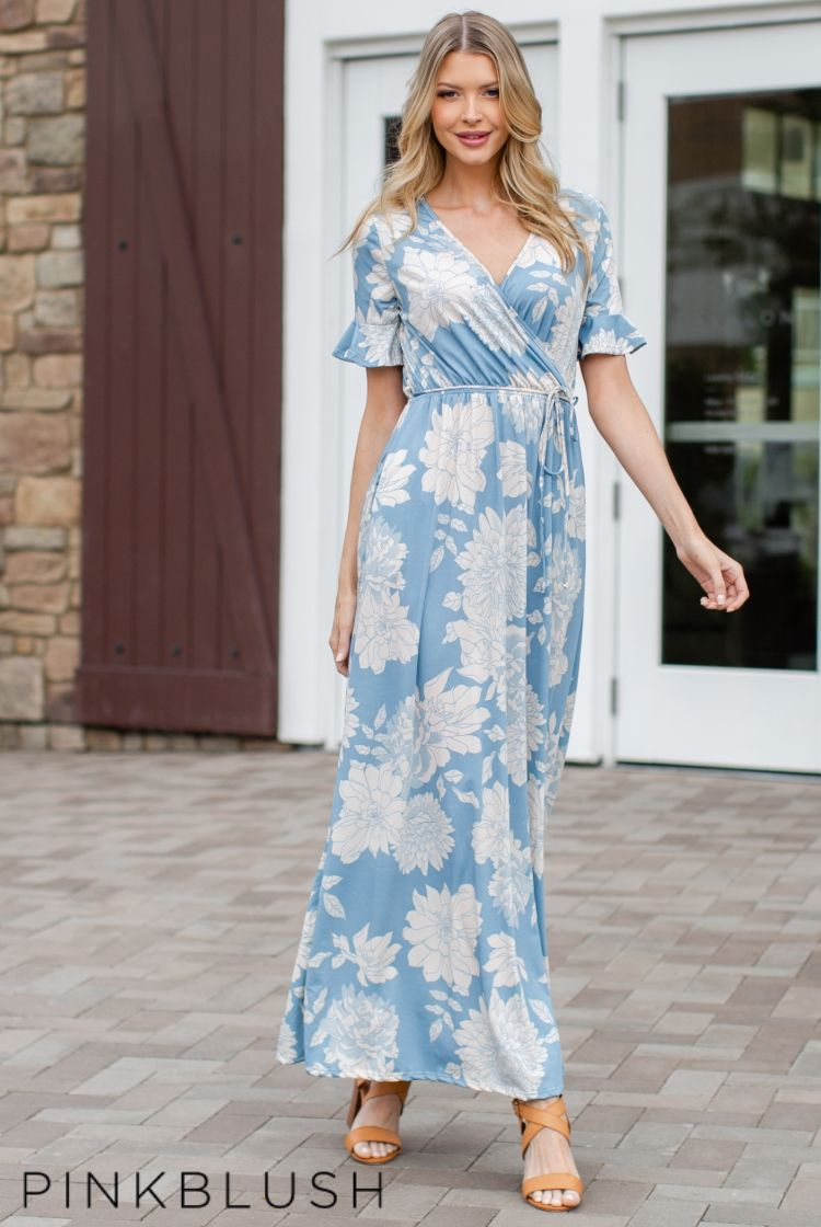 91d244bb622 Light Blue Floral Print Ruffle Sleeve Maternity Maxi Dress in 2019 ...