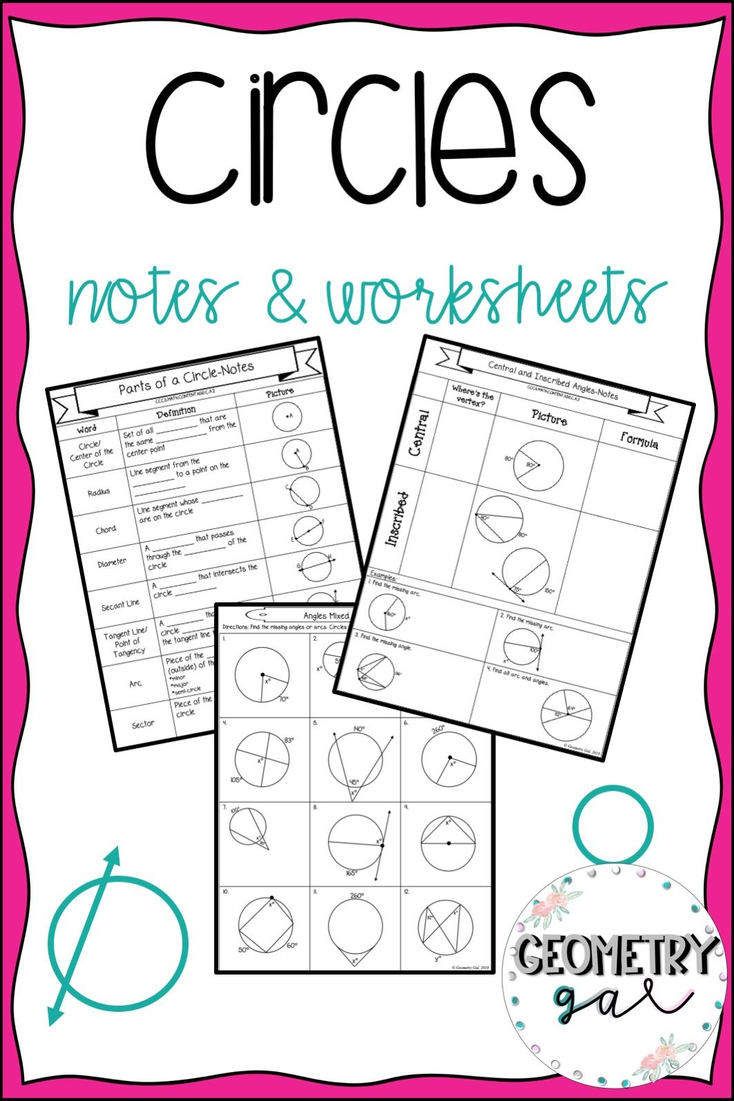 Circles Guided Notes And Worksheets High School Geometry Notes High School Math Activities Secondary Math