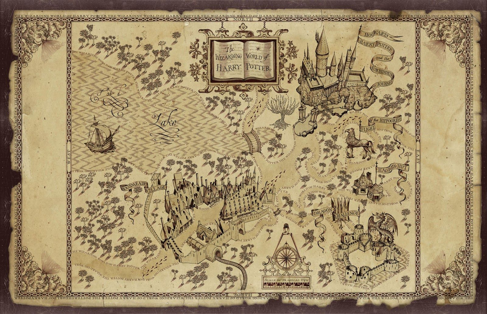 The Wizarding World of Harry Potter map.