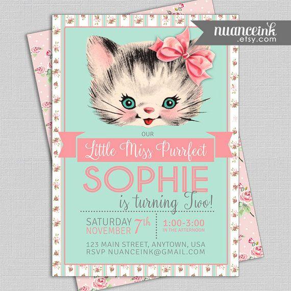 Little Miss Purrfect Vintage Kitten Birthday Party Invitations