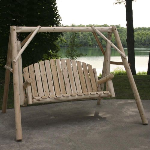 Menards 230 Backyard Creations Reg Cedar Log Swing And A Frame Porch Swing With Stand Porch Swing Rustic Outdoor Furniture