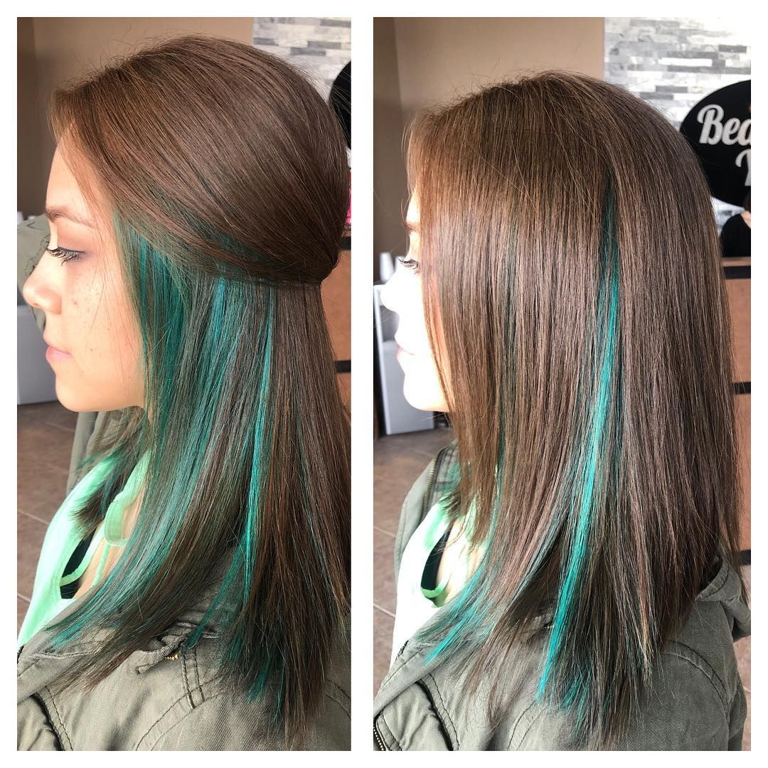 Opal Green Peekaboo Highlights On Chocolate Brown Peekaboo Highlights Hair Styles Hair Highlights