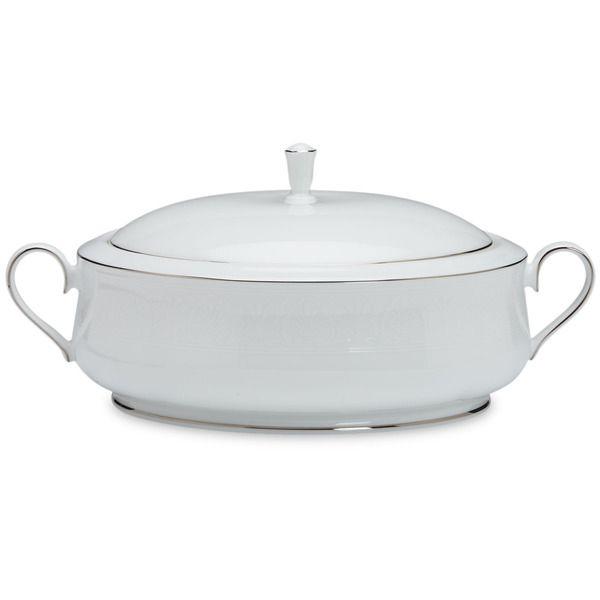 Lenox 'Hannah Platinum' 12-inch Covered Vegetable Bowl