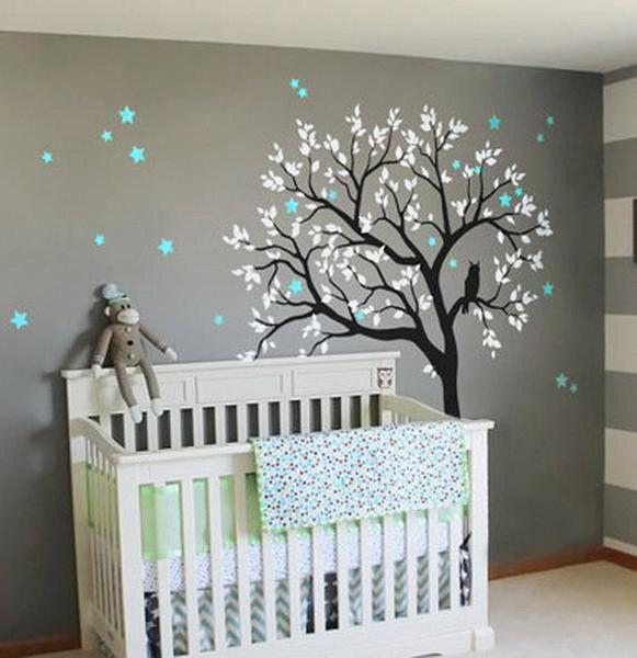 Große Eule Hoot Star Baum Kinder Kinderzimmer Dekor Wandtattoos Wandkunst Baby Decor Wandbild Aufkleber #kleinkindzimmer