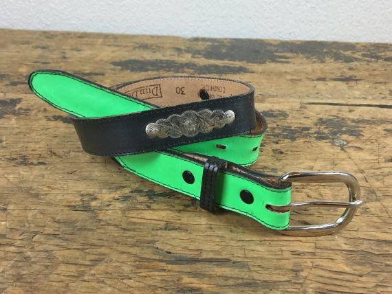 Vintage Green Black Leather Belt Dundee Metal Designs by reAwesome