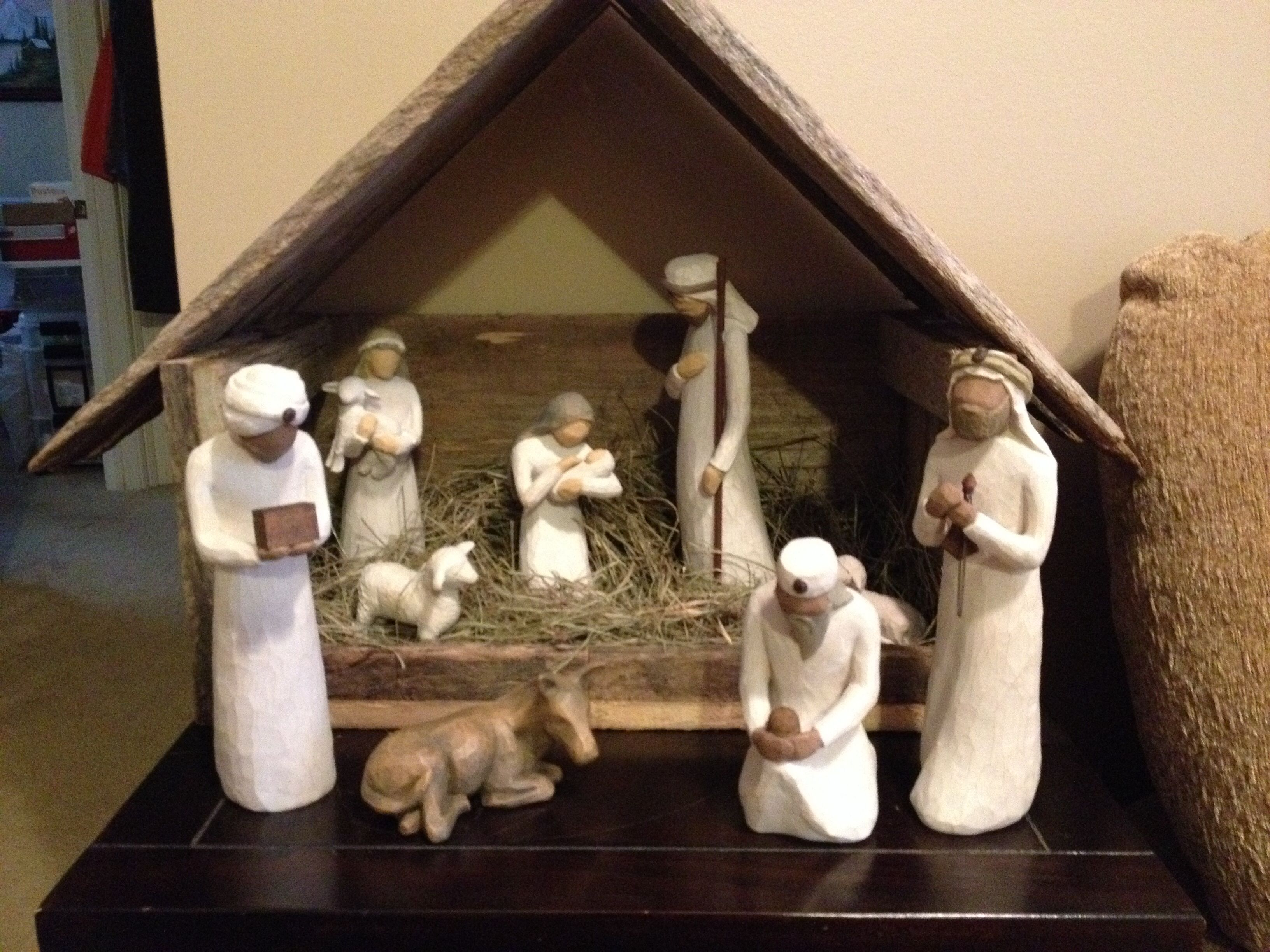 Nativity Stable Created From Old Barn Wood By My Dad Nativity Stable Barn Wood Old Barn Wood