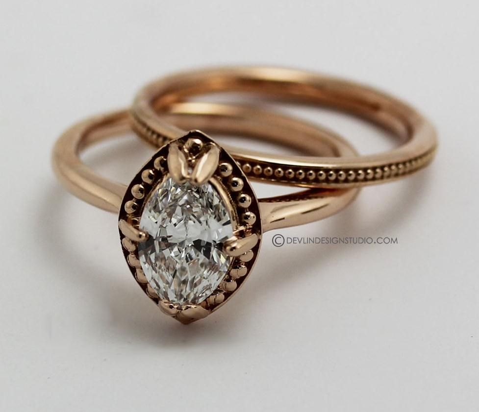 Hand made engagement ring marquise diamond rose gold by devlin