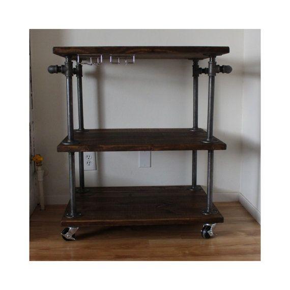 Mini Fridge Storage Cart #19 - Mini Fridge · Industrial Bar Cart 3 Tiered Kitchen Cart By  MaverickIndustrial