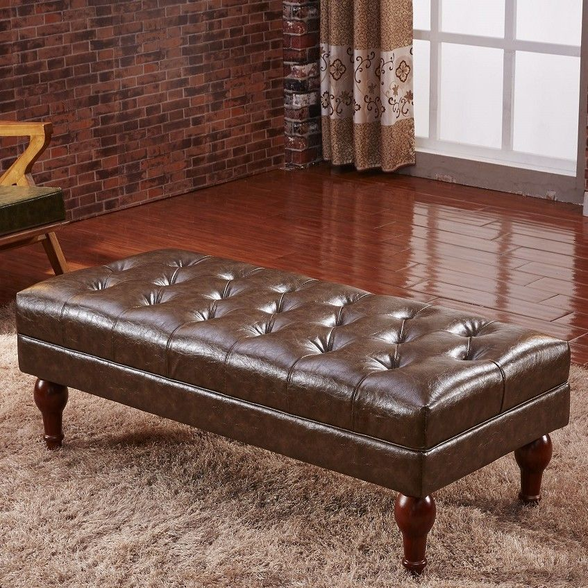 Premium Faux Leather Entryway Bench Leather Bedroom Leather