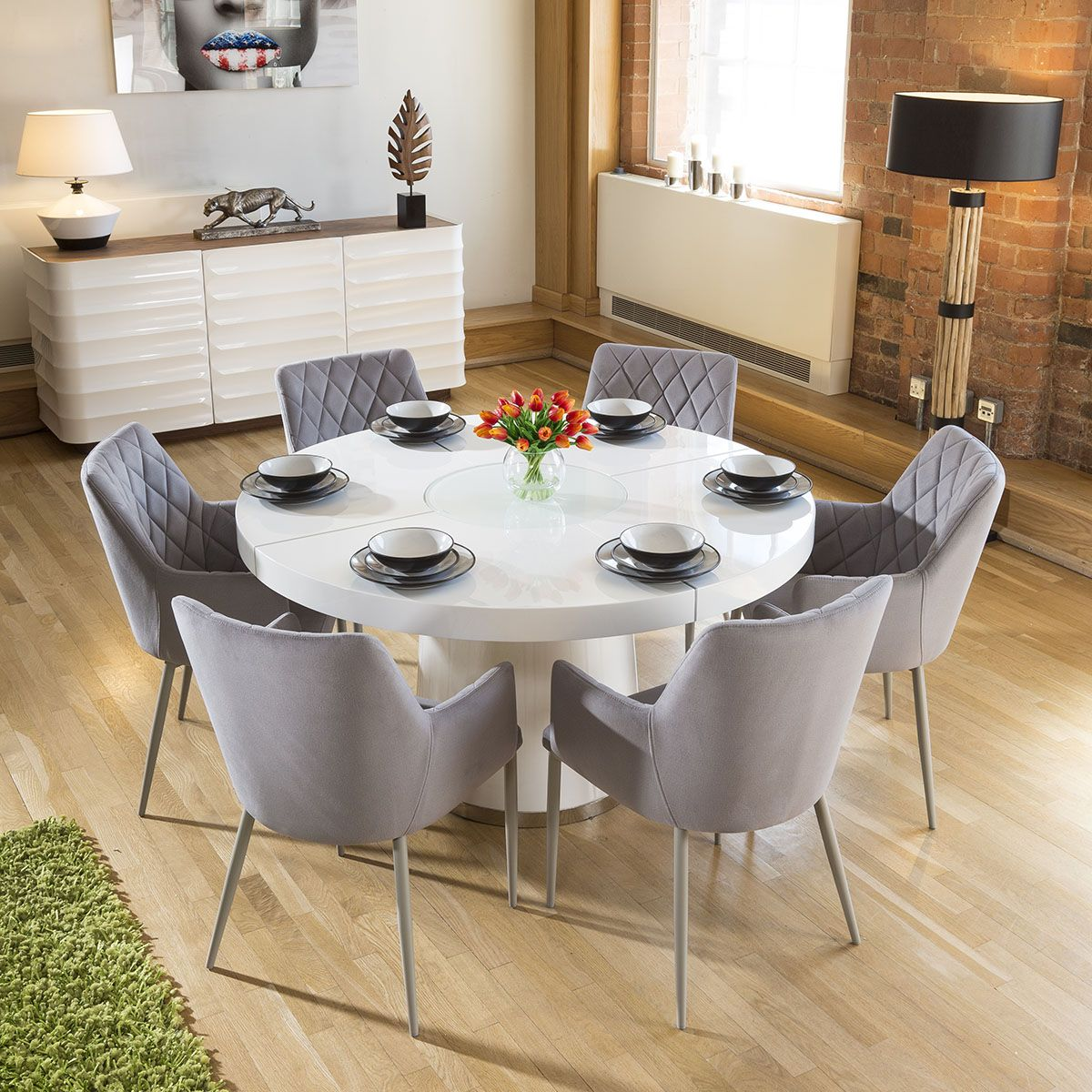 Large White Circular 1 4 Dining Table 6 Ice Grey Carver Chairs In