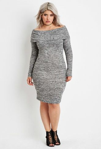 4ca13f4d1e7 Plus Size Off-the-Shoulder Sweater Dress
