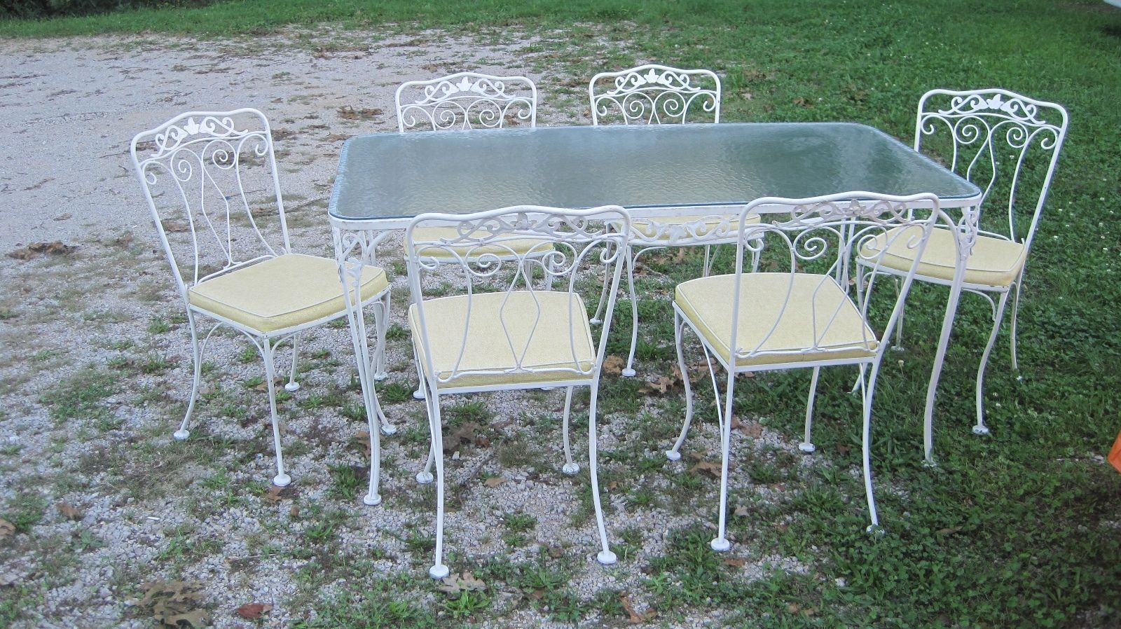 Excellent Orig Condition 1950 Wrought Iron Table 6 Chairs Salterini Woodard Ebay Wrought Iron Table Vintage Patio Teak Dining Chairs