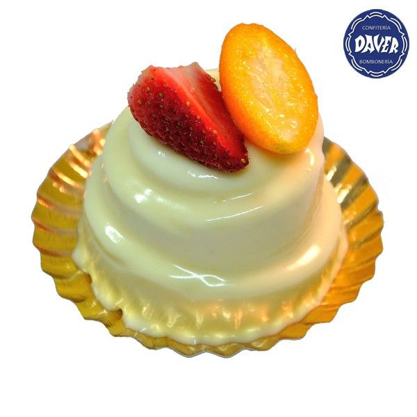 #Mousse suave de #chocolate blanco decorado con #frutas del tiempo