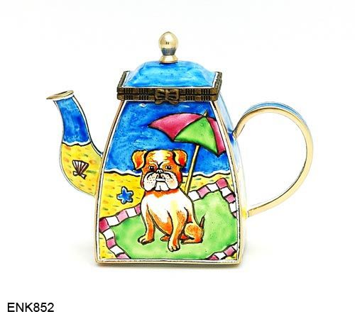 Bulldog At Beach Teapot  Beautiful Enamel Over Copper Miniature Teapot With  A Removable Lid. The Teapots Arebetween 3 To 4 Inches Tall.