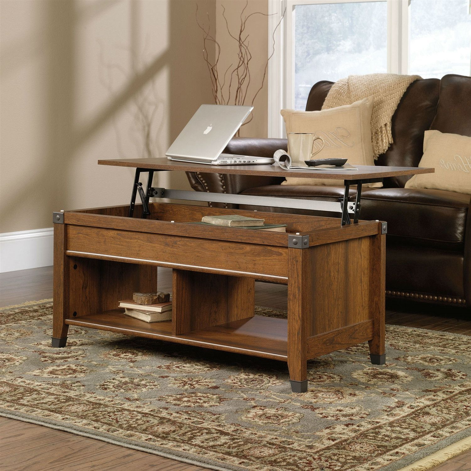 Lift Table Coffee Table: Lift-Top Coffee Table In Cherry Wood Finish