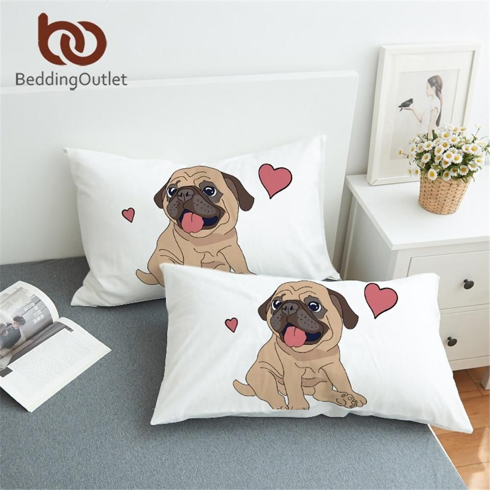 Beddingoutlet Hippie Pug Pillowcase Animal Cartoon Decorative