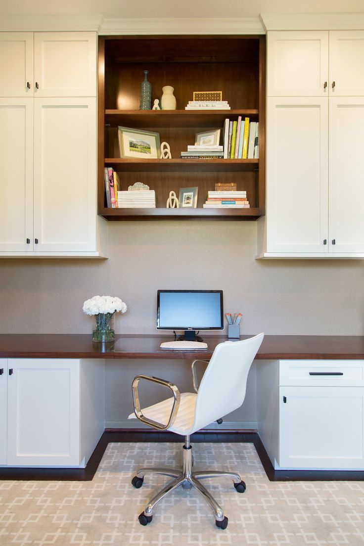 Home office remodel; desk w/ hidden wiring; rug; cabinetry; bookshelf decor  | Interior Designer: Carla Aston / Photography by Tori Aston We are want to  say ...