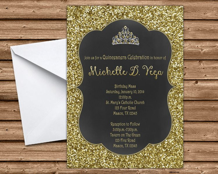 Black and Gold Glitter Sweet 16 Invitations – Sweet 16 Invitation Card
