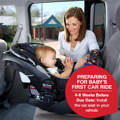 4 to 8 weeks before your due date, install the car seat in