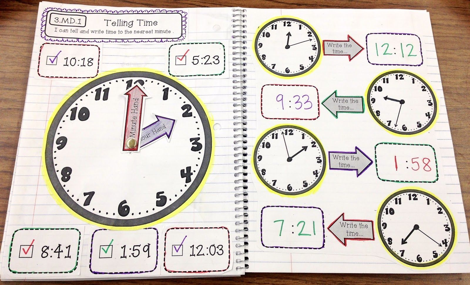Time Math Notebook Page