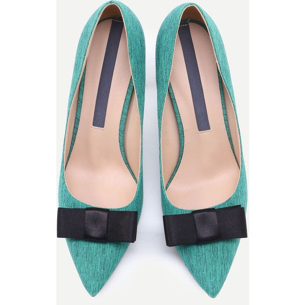 Green Pointed Toe Bow Stiletto Heels (53670 IQD) ❤ liked on Polyvore featuring shoes, pumps, green shoes, bow shoes, pointy toe pumps, bow pumps and stiletto pumps