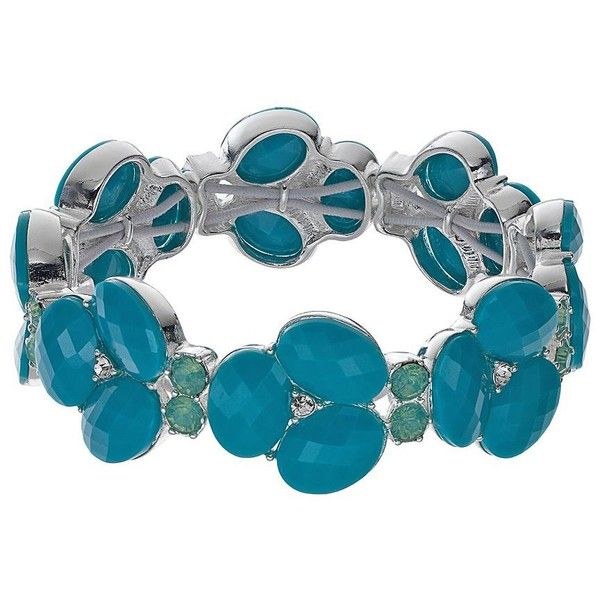 Dana Buchman Cluster Stretch Bracelet (82 RON) ❤ liked on Polyvore featuring jewelry, bracelets, aqua, artificial jewellery, cluster jewelry, stretch jewelry, dana buchman and imitation jewellery