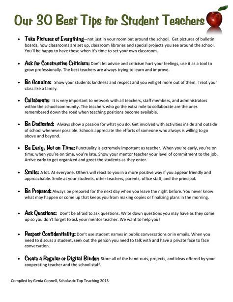 Great Tips To Share With All Student Teachers Student Teaching Teaching Tips Substitute Teaching