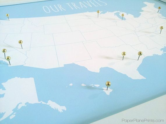 usa travel pin board diy kit us map print christmas gift for