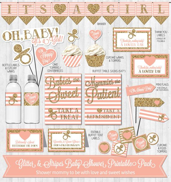 baby shower decor: gold glitter & blush pink stripes | pink baby, Baby shower invitations