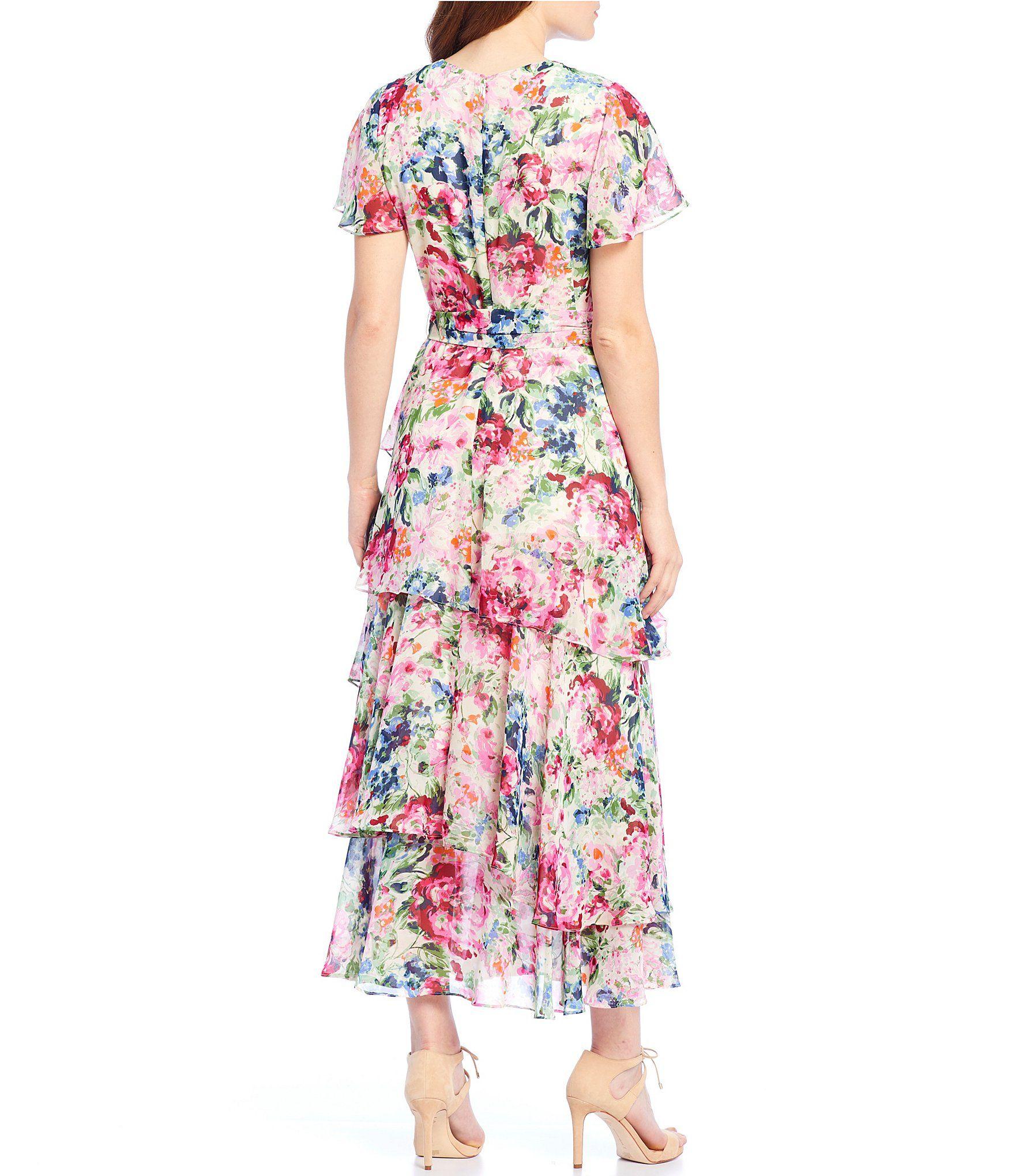Tahari Asl Faux Wrap Floral Print Maxi Dress Dillards Printed Maxi Dress Floral Print Maxi Dress Maxi Dress [ 2040 x 1760 Pixel ]