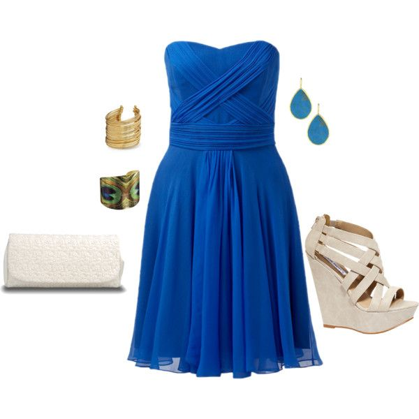 """blue chiffon strapless crossover dress"" by itsmedonnab on Polyvore"
