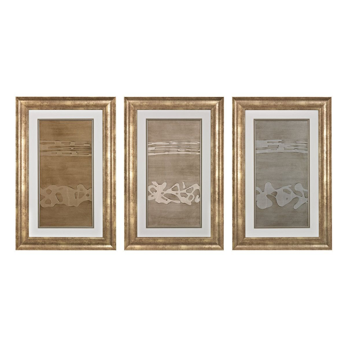Metal alloy framed art in antique gold set of 3 products metal alloy framed art in antique gold set of 3 jeuxipadfo Gallery