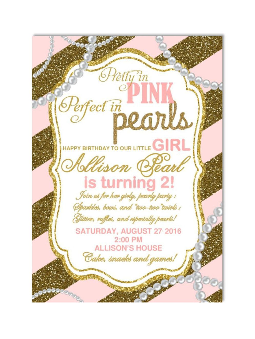 DIY PRINTABLE Birthday Party | Pink Pearls and Glitter Girl Birthday ...