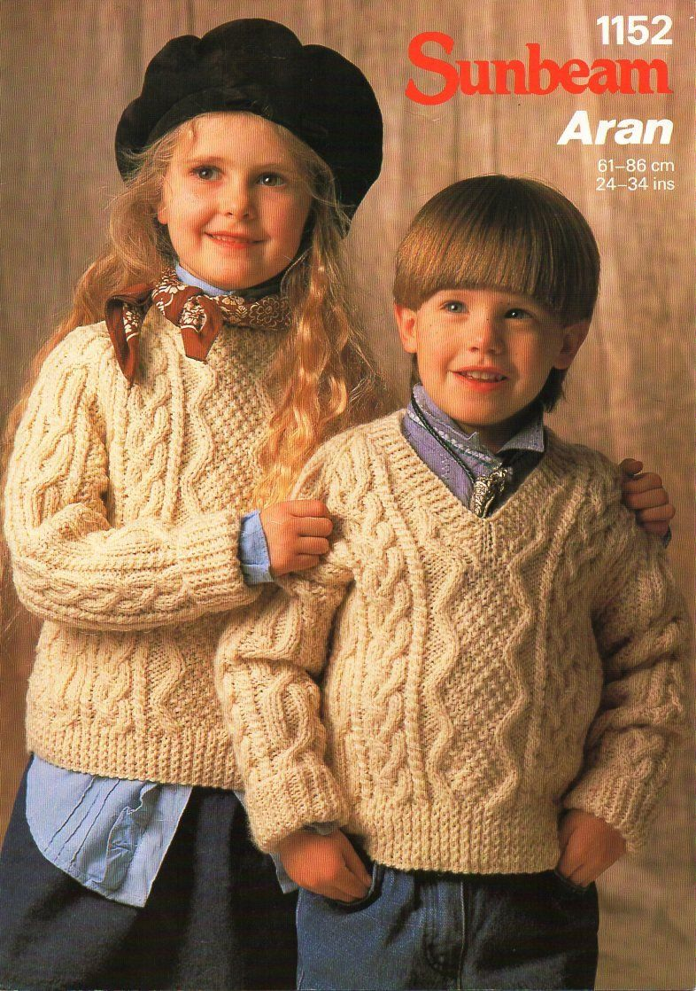 5768664c6 childrens aran sweater knitting pattern pdf cable jumper v or crew neck  24-34